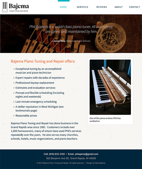 Bajema Piano Tuning Site - Visual Design - Homepage