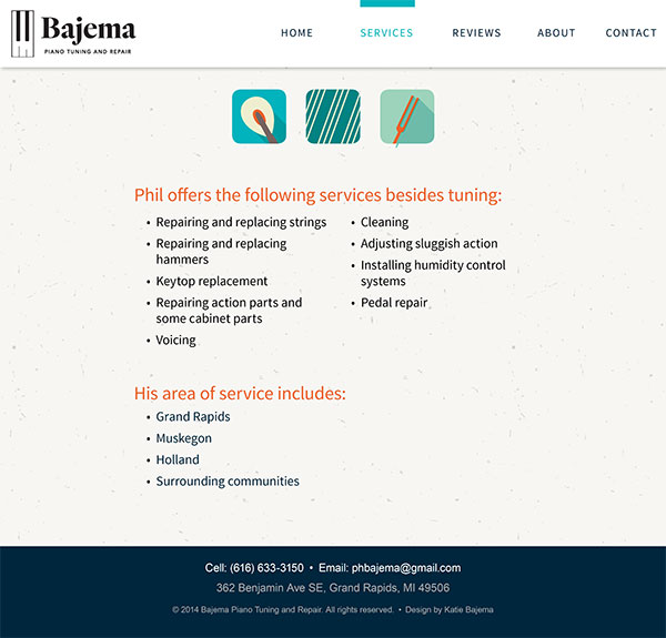 Bajema Piano Tuning Site - Visual Design - Services Page