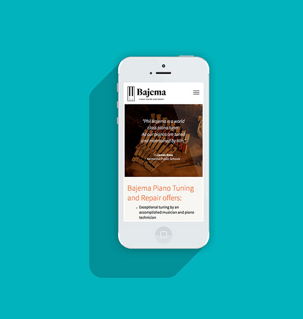 Bajema Piano Tuning Site - Visual Design - Mobile