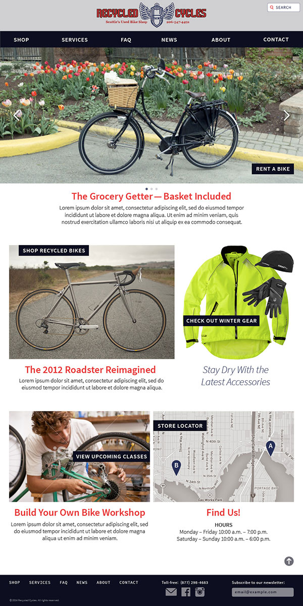 Recycled Cycles Homepage - Visual Design